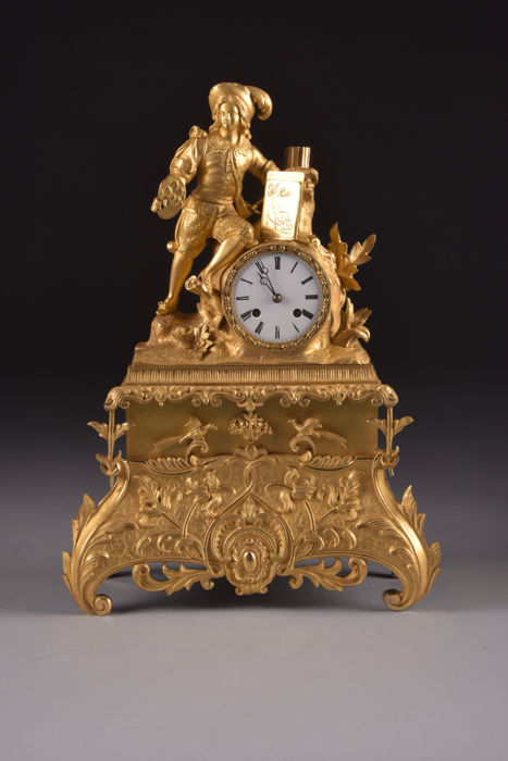 "Beautiful large bronze fire-gilt pendulum clock - with depiction of an artist - rope pendulum movement marked ""Medaille d'or Japy Freres""- France approx. 1830"