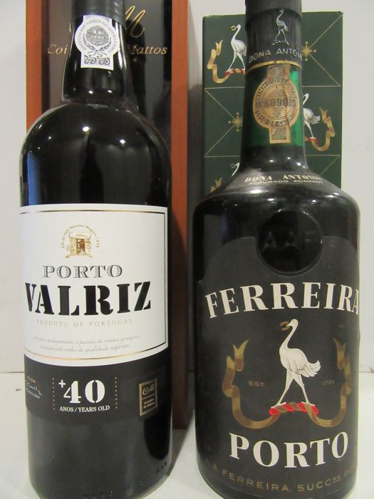 "Port Valriz Over 40 Years Old Tawny & Port Ferreira ""Dona Antonia"" - 2 bottles in total"