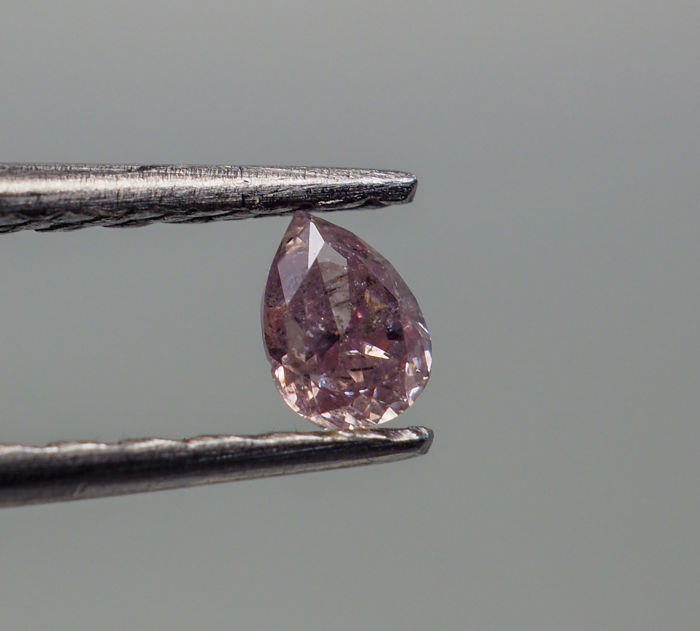 0.10 ct - Natural Fancy Diamond - Purplish Pink - I2 *NO RESERVE*