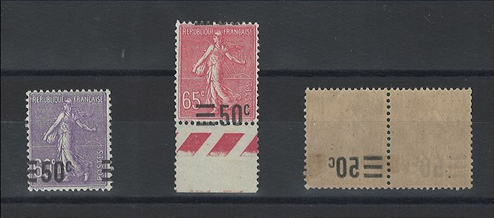 France 1926/1927 - Overprint type on lined Semeuse, displaced overprint and recto/verso overprint