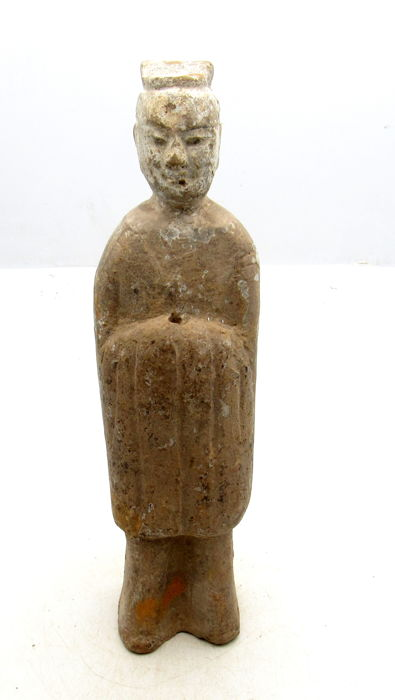 Ancient Chinese Tang Dynasty Attendant Terracotta Statue - 205 x 55mm