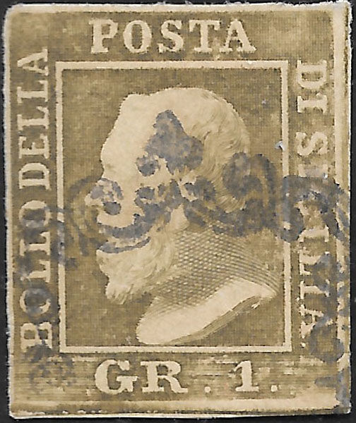 Sicily 1859 - Gr. 1  olive grey, plate II, paper of Naples - Sass.  No  4e