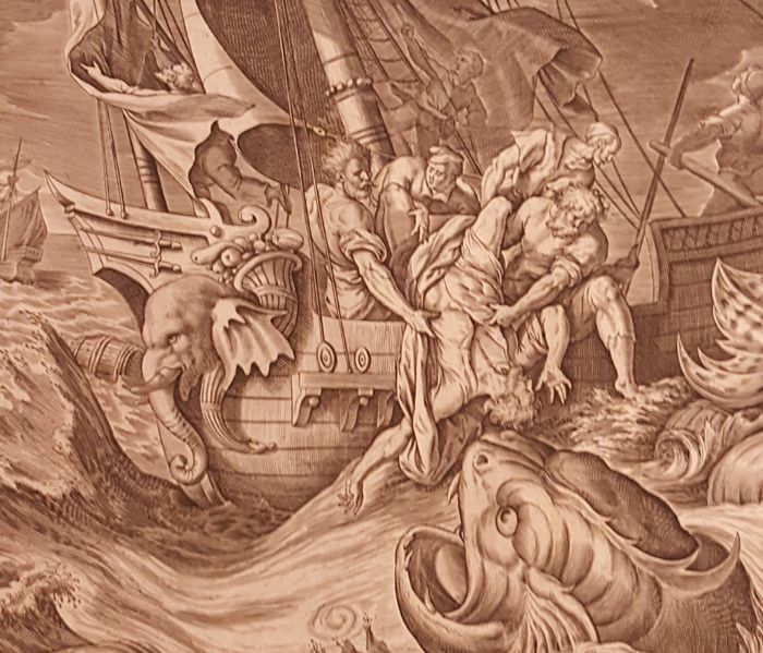 Antonius Wierix, II (1555/59-1604) - Jonah cast into the sea. ca 1585