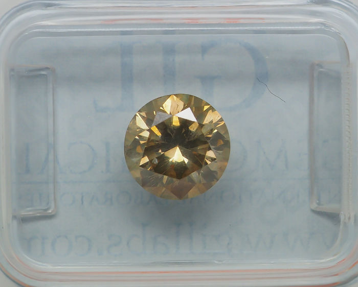 1.40 ct - Natural Fancy Diamond - INTENSE Greenish Yellow - SI2 *NO RESERVE*