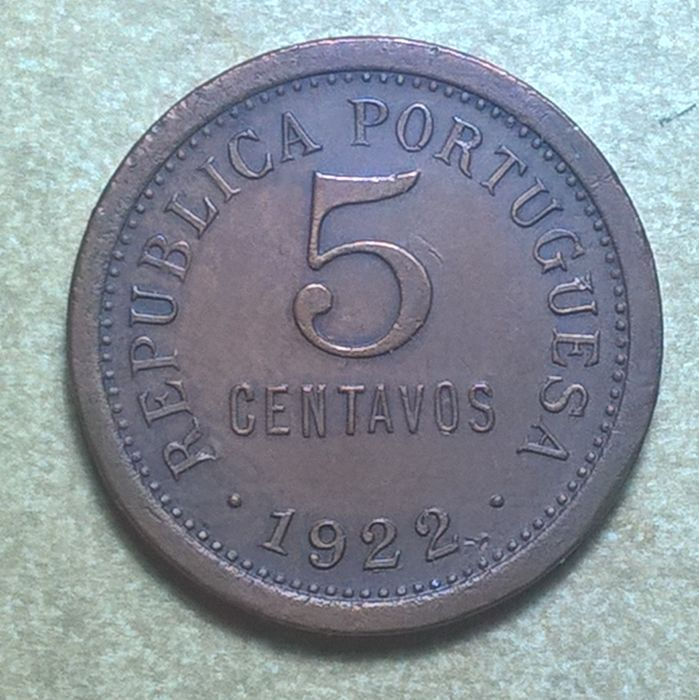 Portugal Republic - 5 Centavos - 1922 - Bronze - Rare