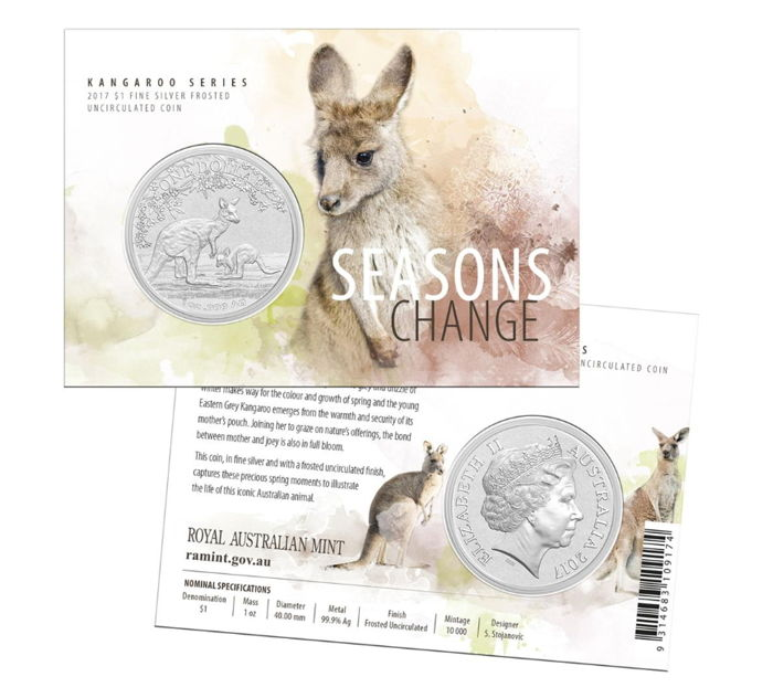 1 Dollar - Royal Australia Mint - Kangaroo 2017 - Seasons Change - in blister with certificate 999 silver coin