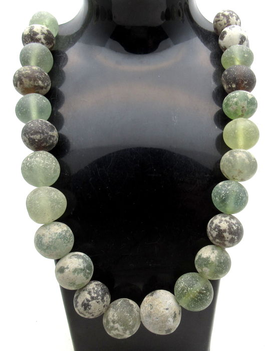 Ancient Roman Glass Beaded Necklace  - 440 mm
