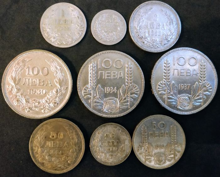 Bulgaria - 50 Stotinki (1/2 Lev) up to and including 100 Leva 1882/1937 (9 coins) - silver