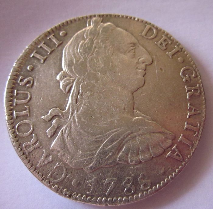 Spain - Carlos III (1759 - 1788) - 8 Reales 1788 - Mint of Mexico - Assayer F - M