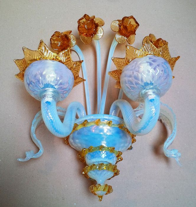 Wall sconce in hand worked and hand decorated glass - Venice, 1990s