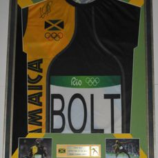 Usain Bolt hand signed framed replica Rio Olympics 2016 jersey by the Fastest Man Legend Usain Bolt + LOA Letter of Authenticity by PSA DNA ULTRA RARE!