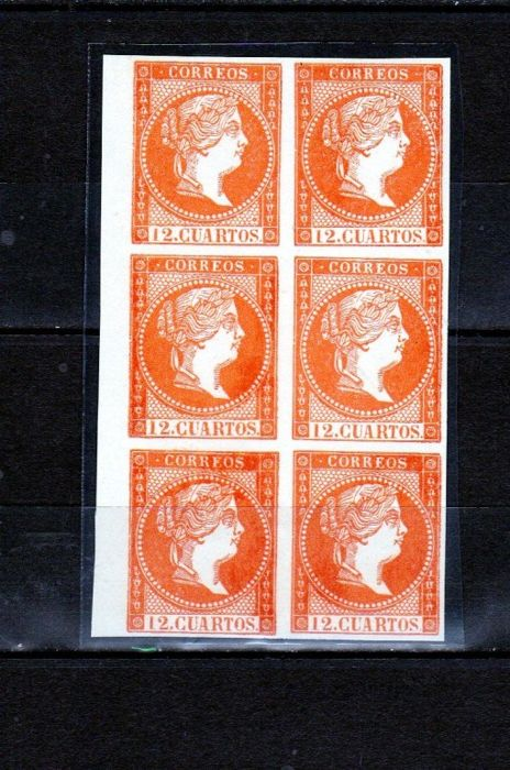 Spain 1855 - Isabel II, 12 cuartos, orange - Edifil NE1