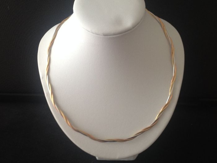 Necklace made of 3 types of 18 kt gold - 40 cm