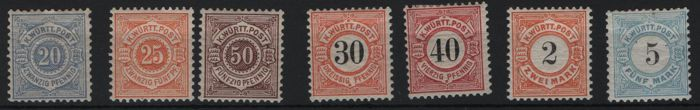 Württemberg - 1881 - batch of 7 MH stamps with Michel 53 - 54