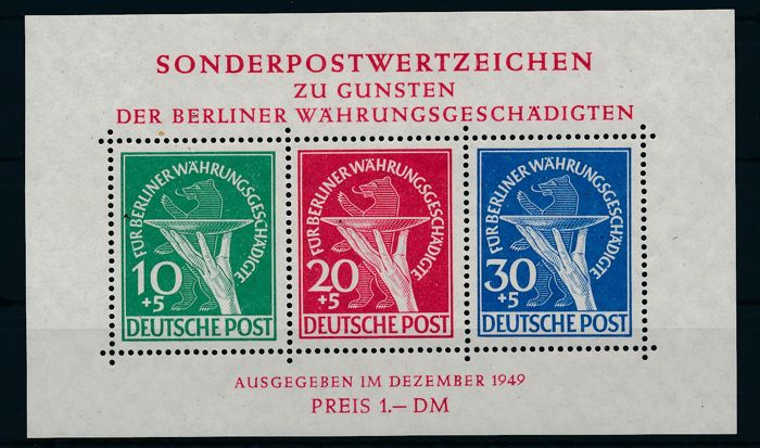 "Berlin - 1949 - ""zu Gunsten der Währungsgeschädigten in Blockform"" (in favour of the currency victims) in block form"" with the plate error in the 30 Pf. - Michel Block 1 I with photo certificate Schlegel BPP"