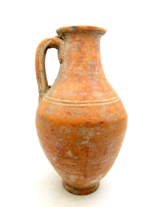 Ancient Roman Large Terracotta Legionary Jar / Flagon with Handle - 205x11.5mm