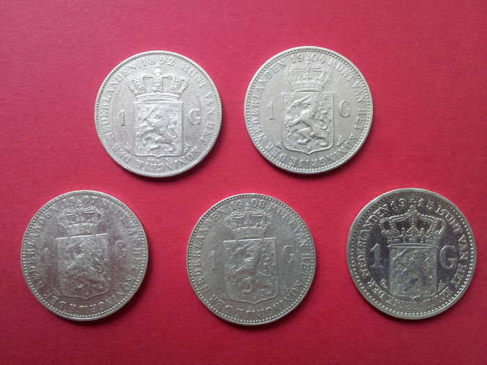 The Netherlands - 1 Guilder 1892/1915 Wilhelmina - 5 pieces - silver