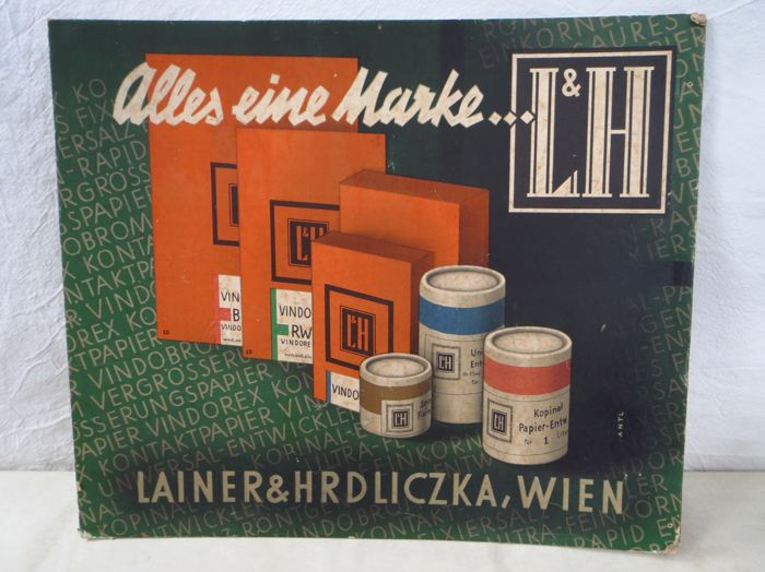 Cardboard advertising sign of Lainer & Hrdliczka, Vienna
