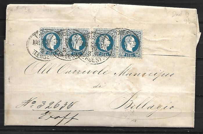 Austrian Empire, Lombardy-Venetia 1879 - Letter from Trieste to Bellagio, franked with 2 pairs of Austrian stamps with perforation 9½ & 9 - Cat. No 35/1