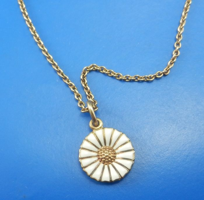Georg Jensen gold plated silver DAISY pendant and necklace