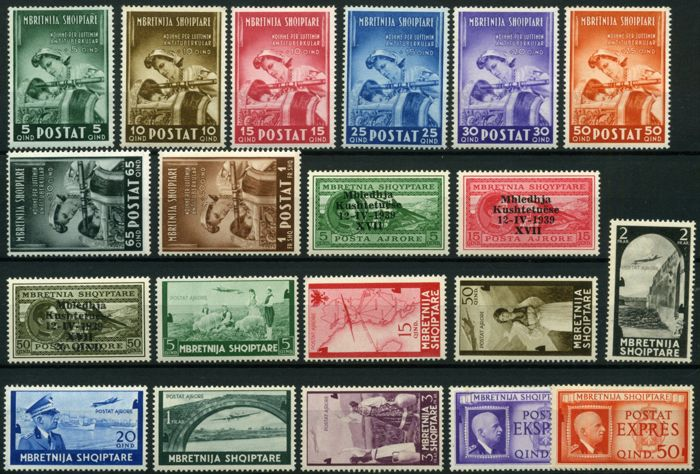 Albania 1939/1942 - Italian Occupation - Sass.  Nos  30/45 - Services 1/5 -  Airmail  1/3 + 5/11 - Express  1/2