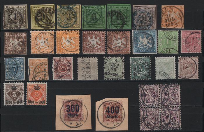 Württemberg - 1851-1920 - batch on two stock cards with Michel no. 1, official stamps and many inspected stamps.