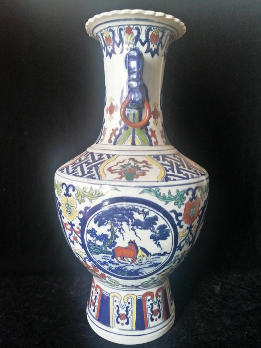 Vase in polychrome porcelain with decorations of horses, flowers and birds - China - late 20th century