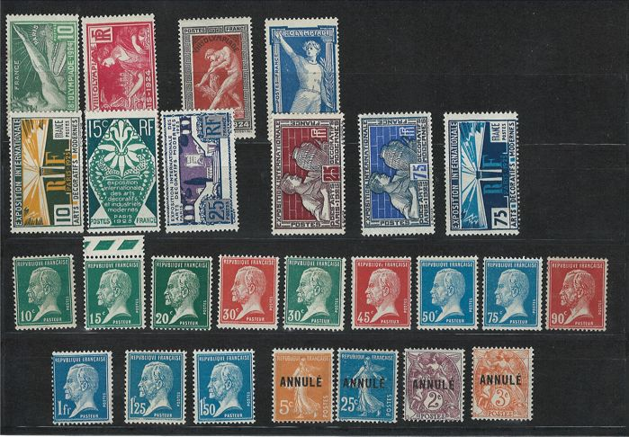 France 1923/1925 - Selection of series and cancelled stamps - Yvert no. 170/181, 183/186 and 210/215