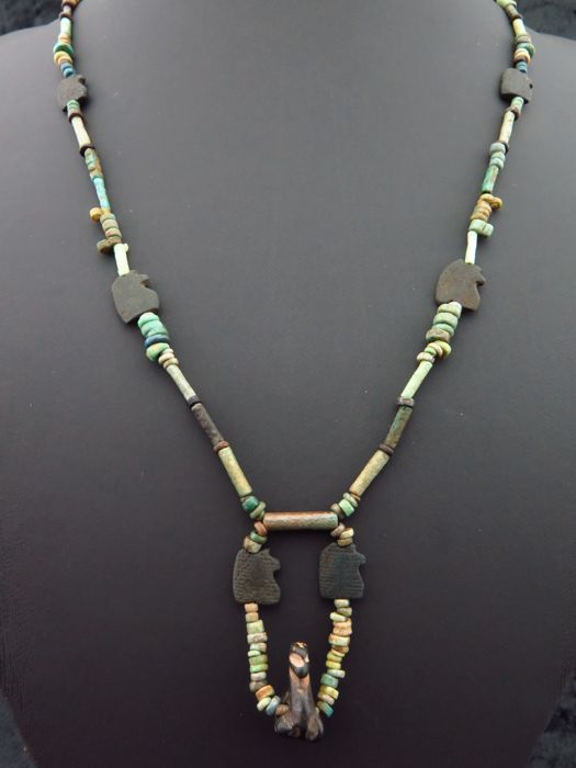 Egyptian necklace of faience beads, stones Horus eyes and serpentine swan amulet - 56 cm