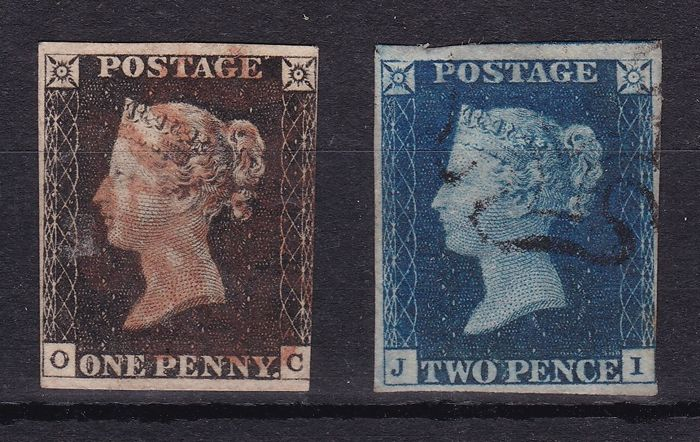 Great Britain 1840- 1d Black and 2d Blue, Stanley Gibbons 2 and 5