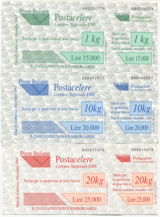 Italy, Republic 1997 - Postacelere vouchers, complete series of 12 stamps