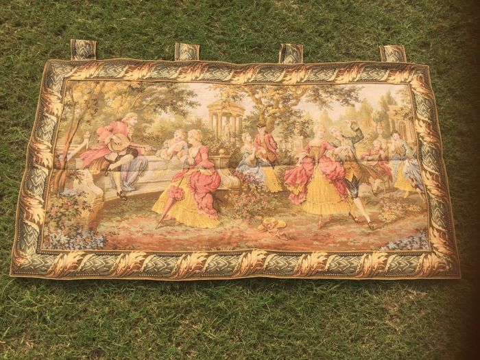 Vintage Pictorial Tapestry, France 103 x 57 cm