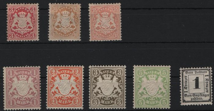 Bavaria - 1870-1911 - state coat of arms on pedestal, batch of 8 stamps with Michel 27, 71-74 and postage due 2