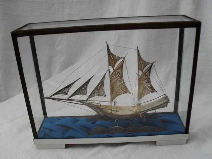 Very beautiful Antique Silver filigree ship in display case