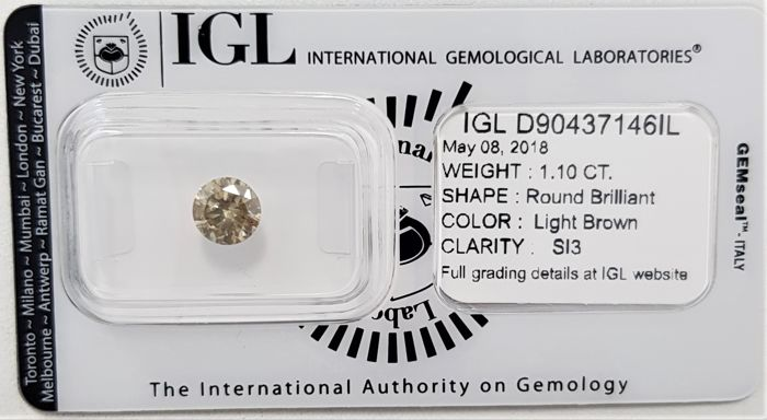 1.10 ct - Natural Light Brown Diamond - SI3 - 3EX - No Reserve!