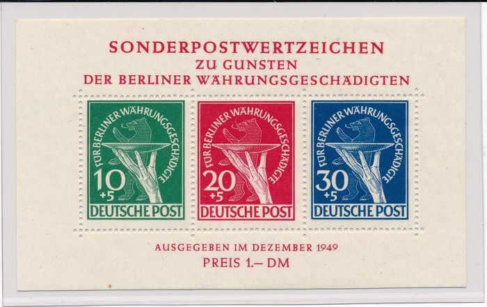 "Berlin - 1949 - ""zu Gunsten der Währungsgeschädigten in Blockform"" (in favour of the currency victims) with the new plate error - Michel block 1 III with photo report Schlegel BPP"