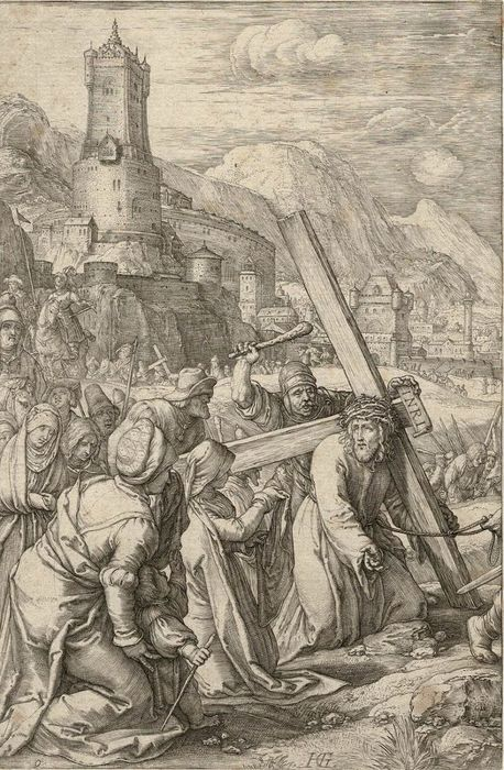Hendrick Goltzius (1558-1617), 1596 - Christ carrying the cross and Veronica (veil)