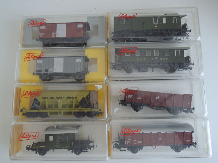 Liliput H0 - 271/249/224/231/241/246/270 - Freight carriage - 8 diverse goederenwagens - SBB-CFF