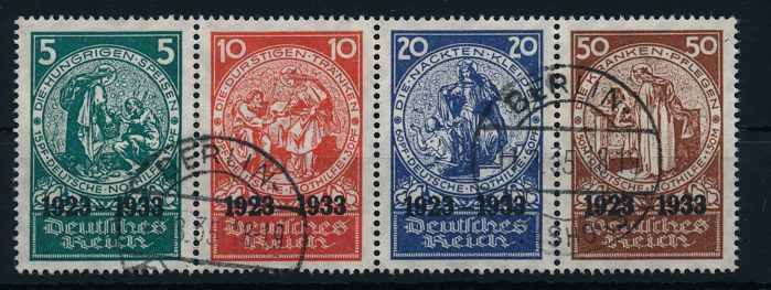 "German Empire/Reich - 1933 - ""Stamps from the Nothilfe (emergency aid) block"" - Michel, Michel 508 - 511 with photo certificate Schlegel BPP"