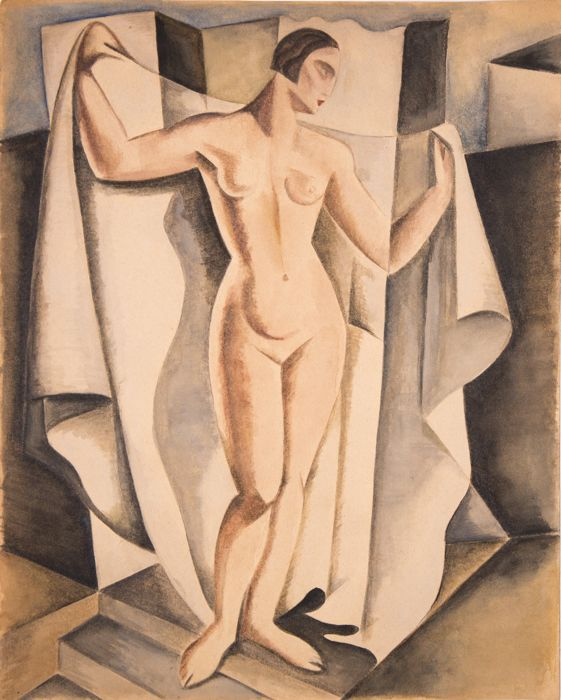 Anonyme/ European school - Art Deco/ cubist composition- The Bather
