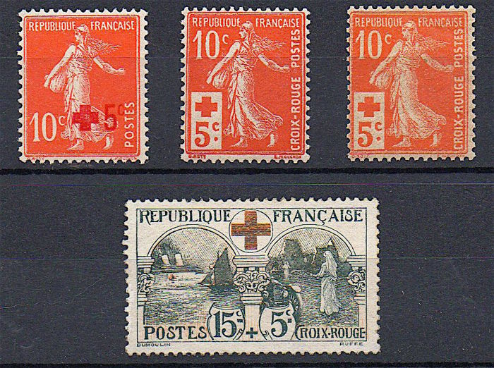 France 1914/18 - In aid of the  Red Cross - Yvert n° 146a, 147, 147a and 156