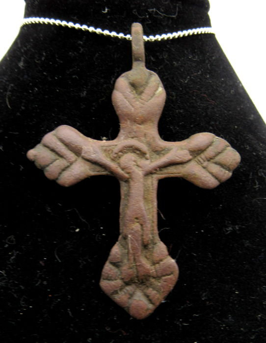 Medieval Crusaders Period - Cross Pendant with Jesus Christ - Holy Land Corpus Christi - 56x40mm