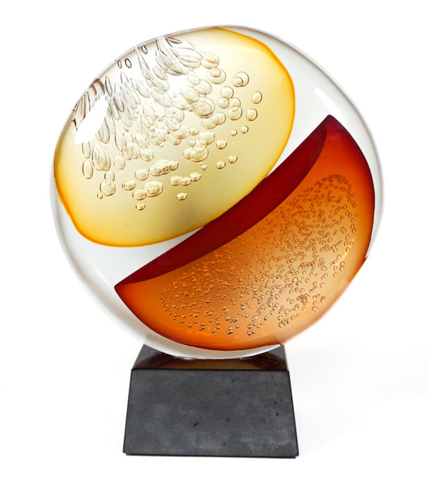 Alberto Donà (Murano) - Large sommerso disc sculpture (43 cm)