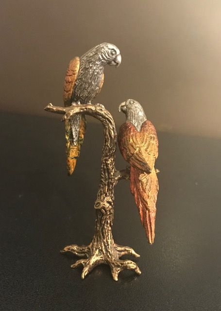 A pair of parrots in silver 800/1000 - Italy - second half of the 20th century