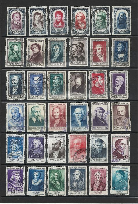 France 1940/1955 - Selection of 6 complete series