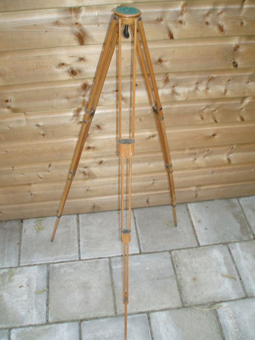 Antique folding wooden tripod of the brand: ICA AG, Dresden