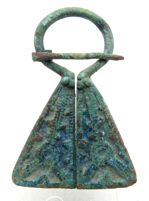 Medieval Viking Period Bronze Penannular Brooch with Decorated Terminals - 57mm