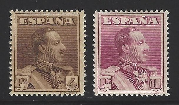 Spain 1922 - Colour errors, 4 and 10 Vaquer pesetas - Specialised Edifil No. 322ec/323ec