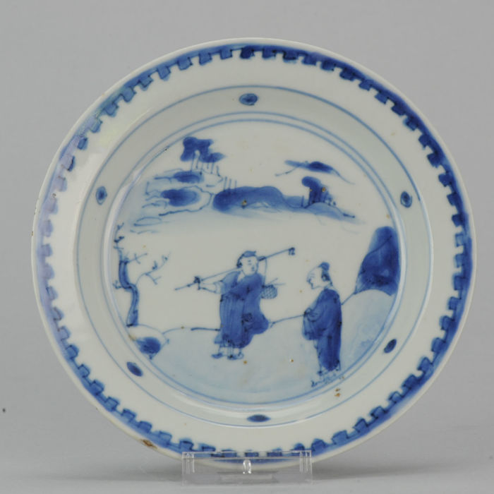 Porcelain Transitional Dish Chinese with Figures - China - Ca 1620