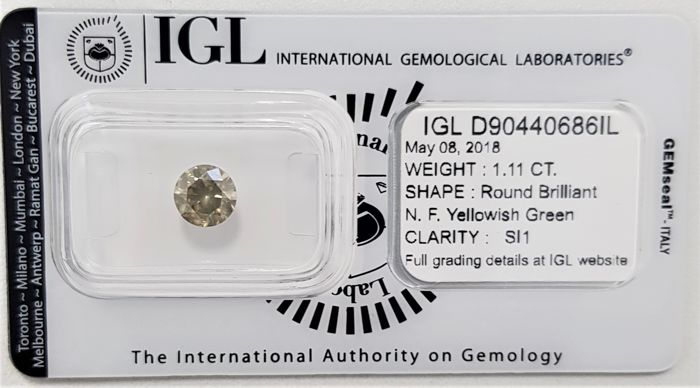 1.11 ct - Natural Fancy Diamond - Yellowish Green Color - SI1 - No Reserve!